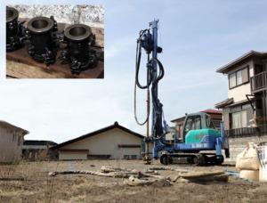 柱状改良工事と供試体