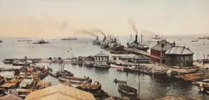 明治時代の象の鼻と大桟橋