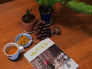 金柑の甘露煮とお茶と山渓